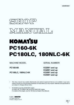 HYDRAULIC EXCAVATOR PC160-6K/ PC180LC-6K/ PC180NLC-6K SERIAL NUMBERS K32001 and up Workshop Repair Service Manual PDF Download