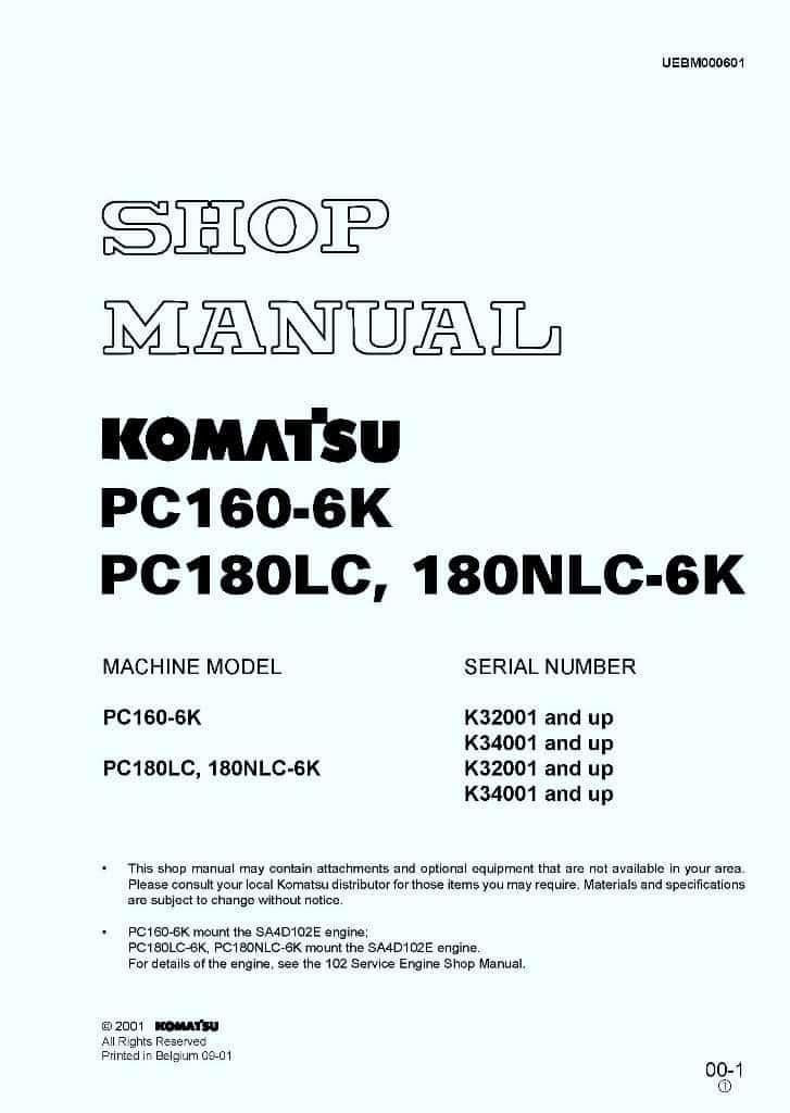 Komatsu Hydraulic Excavator Pc160  Pc180lc  Pc180nlc