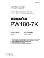 WHEEL EXCAVATOR PW180-7K SERIAL NUMBERS K40001 AND UP Workshop Repair Service Manual PDF Download