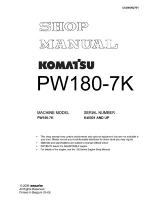WHEEL EXCAVATOR PW180-7K SERIAL NUMBERS K40001 AND UP Workshop Repair Service Manual PDF Download