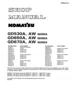 MOTOR GRADER GD530A, AW SERIES/ GD650A, AW SERIES/ GD67OA, AW SERIES SERIAL NUMBERS 202001 and up Workshop Repair Service Manual PDF Download