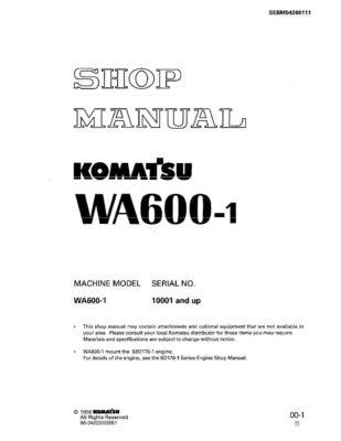 Komatsu WHEEL LOADER WA600-1 Workshop Repair Service Manual PDF Download