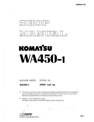 Komatsu WHEEL LOADER WA450-1 Workshop Repair Service Manual PDF Download