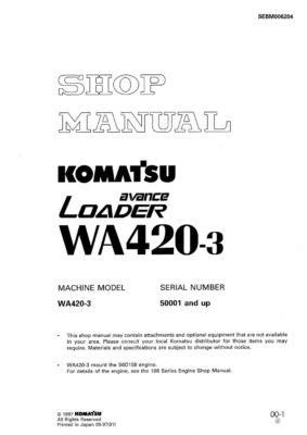 Komatsu WHEEL LOADER WA420-3 Workshop Repair Service Manual PDF Download