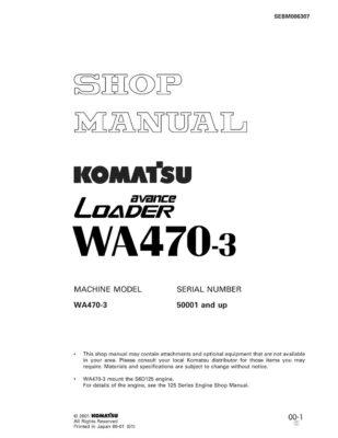 Komatsu WHEEL LOADER WA470-3 Workshop Repair Service Manual PDF Download