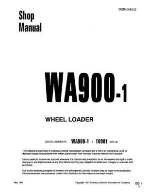 Komatsu WHEEL LOADER WA900-1 Workshop Repair Service Manual PDF Download