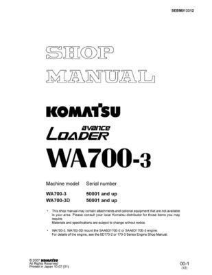 Komatsu WHEEL LOADER WA700-3/ WA700-3D Workshop Repair Service Manual PDF Download