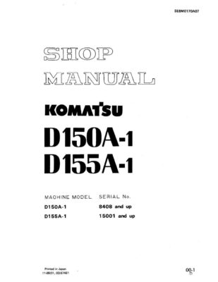 Komatsu BULLDOZERS D150A-1/ D155A-1 Workshop Repair Service Manual PDF Download