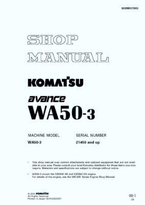 Komatsu WHEEL LOADER WA50-3 Workshop Repair Service Manual PDF Download