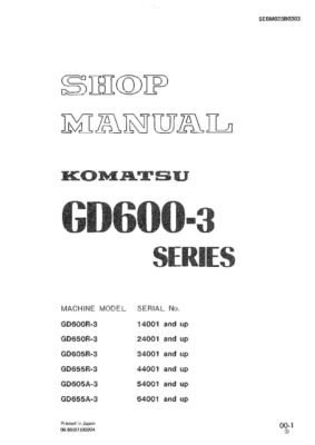 MOTOR GRADER GD600R-3/ GD650R-3/ GD605R(A)-3/ GD655R(A)-3 SERIAL NUMBERS 14001 and up Workshop Repair Service Manual PDF Download