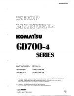 Komatsu MOTOR GRADER GD705R-4/ GD705A-4 Workshop Repair Service Manual PDF Download