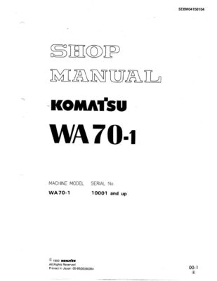 Komatsu WHEEL LOADER WA70-1 Workshop Repair Service Manual PDF Download