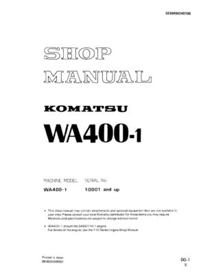 Komatsu WHEEL LOADER WA400-1 Workshop Repair Service Manual PDF Download