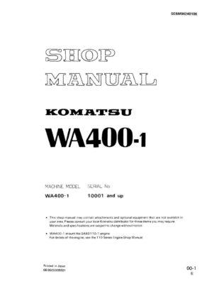 Komatsu WHEEL LOADER WA400-1 Workshop Repair Service Manual PDF Download