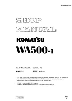 Komatsu WHEEL LOADER WA500-1 Workshop Repair Service Manual PDF Download