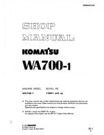 Komatsu WHEEL LOADER WA700-1 Workshop Repair Service Manual PDF Download