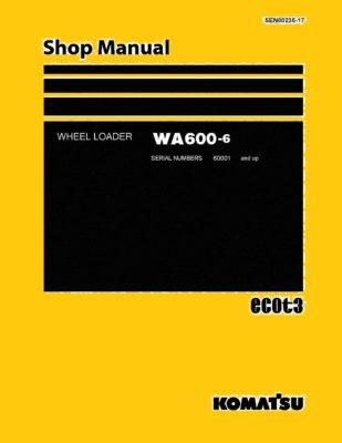 Komatsu WHEEL LOADER WA600-6 Workshop Repair Service Manual PDF Download