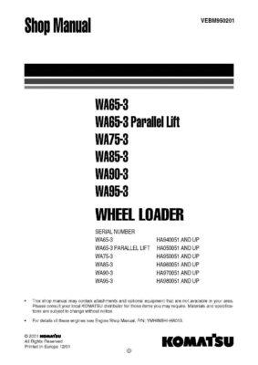 Komatsu WHEEL LOADER WA65-3/ WA75-3/ WA85-3/ WA90-3/ WA95-3 Workshop Repair Service Manual PDF Download