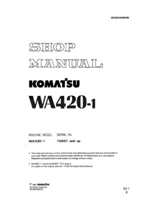 Komatsu WHEEL LOADER WA420-1 Workshop Repair Service Manual PDF Download