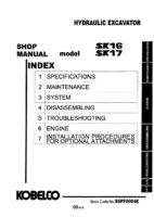 Kobelco SK16/ SK17 Hydraulic Excavator Workshop Repair Service Manual PDF Download