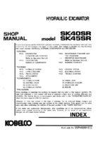 Kobelco SK40SR/ SK45SR Hydraulic Excavator Workshop Repair Service Manual PDF Download