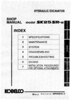Kobelco SK25SR-2 Hydraulic Excavator Workshop Repair Service Manual PDF Download