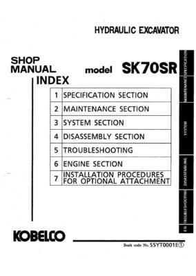 Kobelco SK70SR Hydraulic Excavator Workshop Repair Service Manual PDF Download