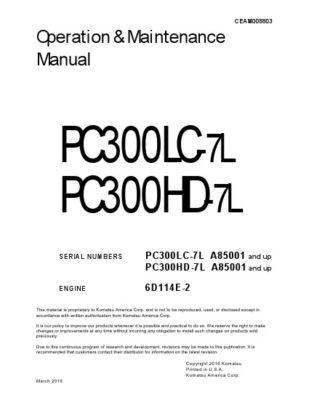 Komatsu PC300LC-7L/ PC300HD-7L Hydraulic Excavator Operation & Maintenance Manual PDF download