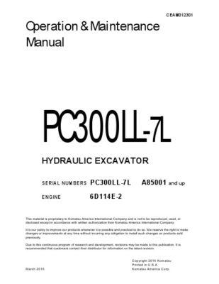 Komatsu PC300LL-7L Hydraulic Excavator Operation & Maintenance Manual PDF download