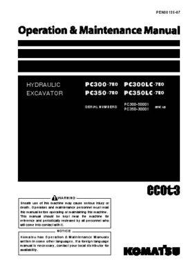 Komatsu PC300-7E0/ PC300LC-7E0/ PC350-7E0/ PC350LC-7E0 Hydraulic Excavator Operation & Maintenance Manual PDF download