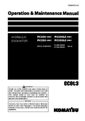 Komatsu PC300-8M0/ PC300LC-8M0/ PC350-8M0/ PC350LC-8M0 Hydraulic Excavator Operation & Maintenance Manual PDF download