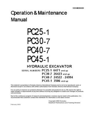 Komatsu PC25-1/ PC30-7/ PC40-7/ PC45-1 Hydraulic Excavator Operation & Maintenance Manual PDF download