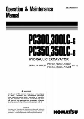 Komatsu PC300-6/ PC300LC-6/ PC350-6/ PC350LC-6 Hydraulic Excavator Operation & Maintenance Manual PDF download