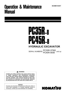 Komatsu PC35R-8/ PC45R-8 Hydraulic Excavator Operation & Maintenance Manual PDF download