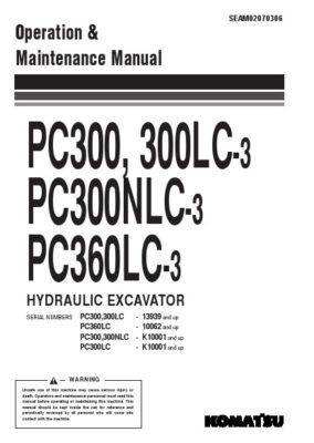 Komatsu PC300, 300LC-3/ PC300NLC-3/ PC360LC-3 Hydraulic Excavator Operation & Maintenance Manual PDF download