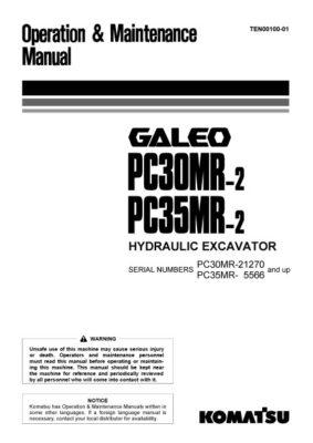Komatsu PC30MR-2/ PC35MR-2 Hydraulic Excavator Operation & Maintenance Manual PDF download