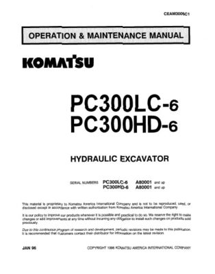 Komatsu PC300LC-6/ PC300HD-6 Hydraulic Excavator Operation & Maintenance Manual PDF download