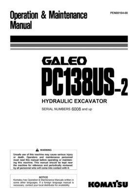 Komatsu PC138US-2 Hydraulic Excavator Operation & Maintenance Manual
