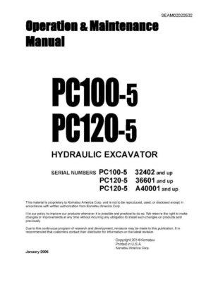 Komatsu PC100-5/ PC120-5 Hydraulic Excavator Operation & Maintenance Manual