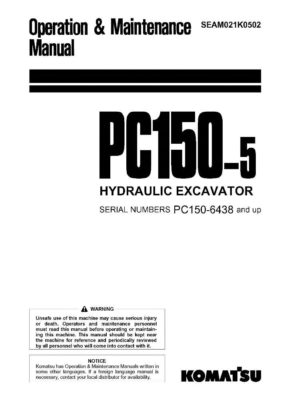 Komatsu PC150-5 Hydraulic Excavator Operation & Maintenance Manual