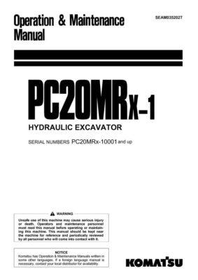 Komatsu PC20MRX-1 Hydraulic Excavator Operation & Maintenance Manual