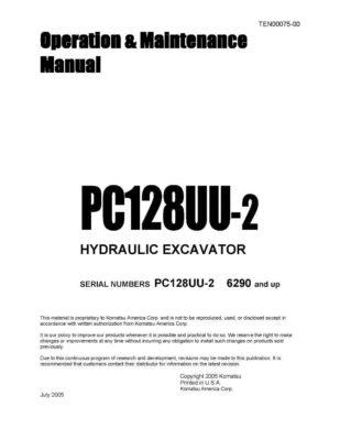 Komatsu PC128UU-2 Hydraulic Excavator Operation & Maintenance Manual