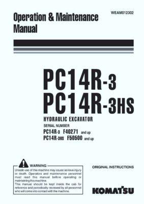 Komatsu PC14R-3/ PC14R-3HS Hydraulic Excavator Operation & Maintenance Manual