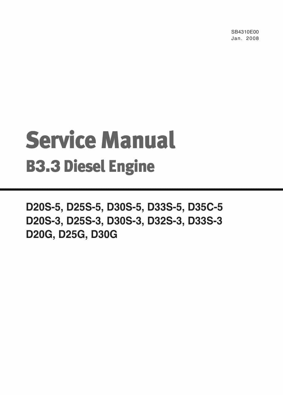 Doosan Diesel Engine Service Manual B3 3 Workshop Repair