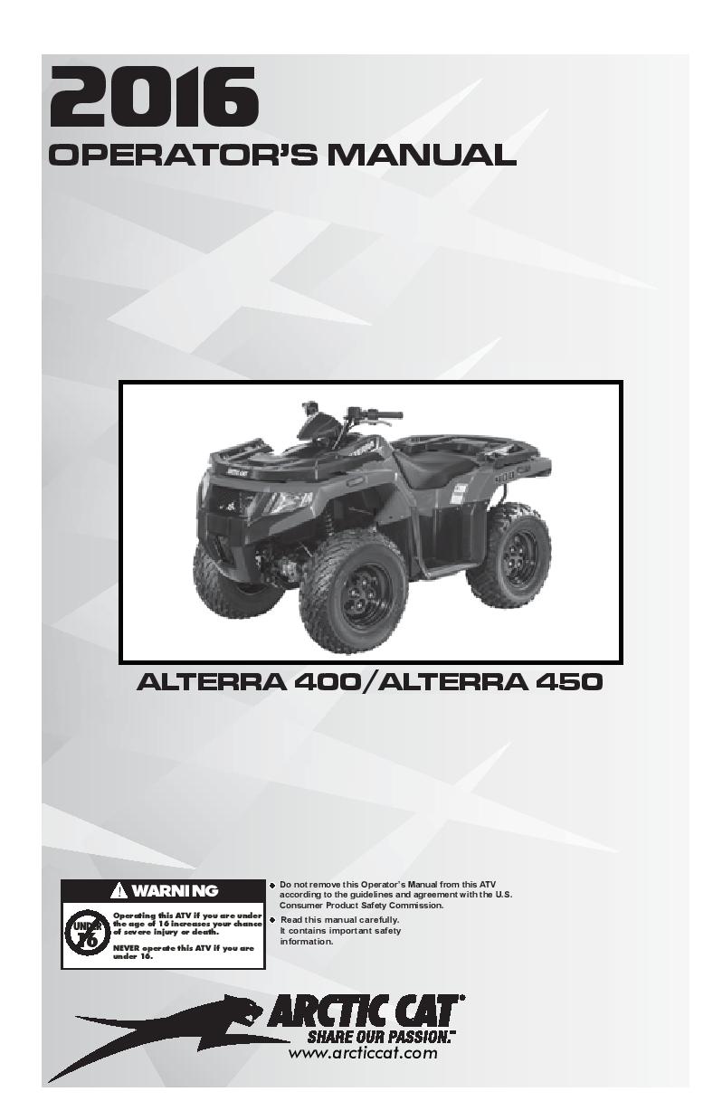 Arctic Cat 2016 Alterra 400 450 Operation Manual Pdf