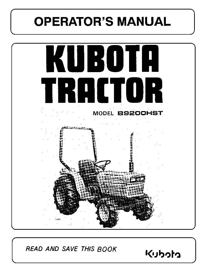Kubota B9200 Operation Manual Pdf Download