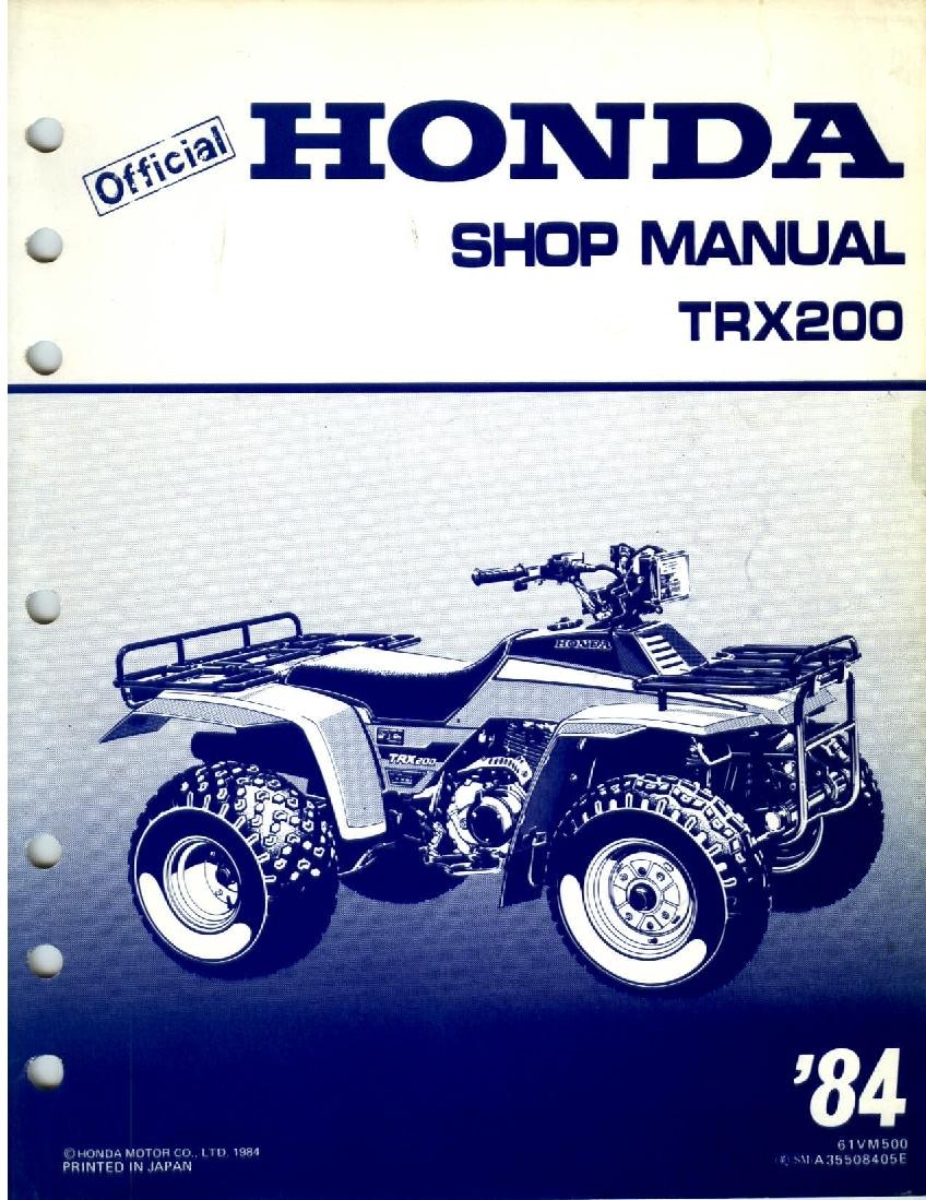 Honda Fourtrax 200 1984 Service Manual Pdf Download