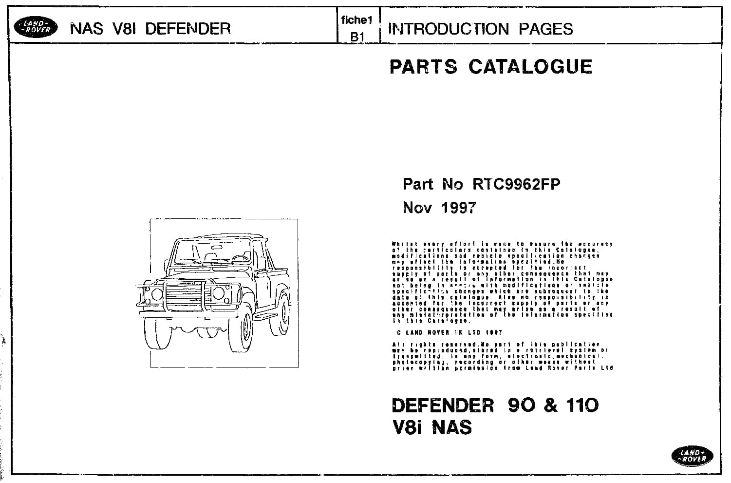 Land Rover Defender 90 110 Nas Parts Catalogue Rover