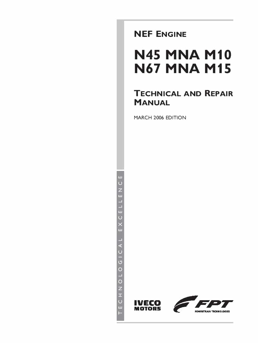 Fpt Iveco Nef Engine N45 Mna M10 N67 Mna M15 Workshop