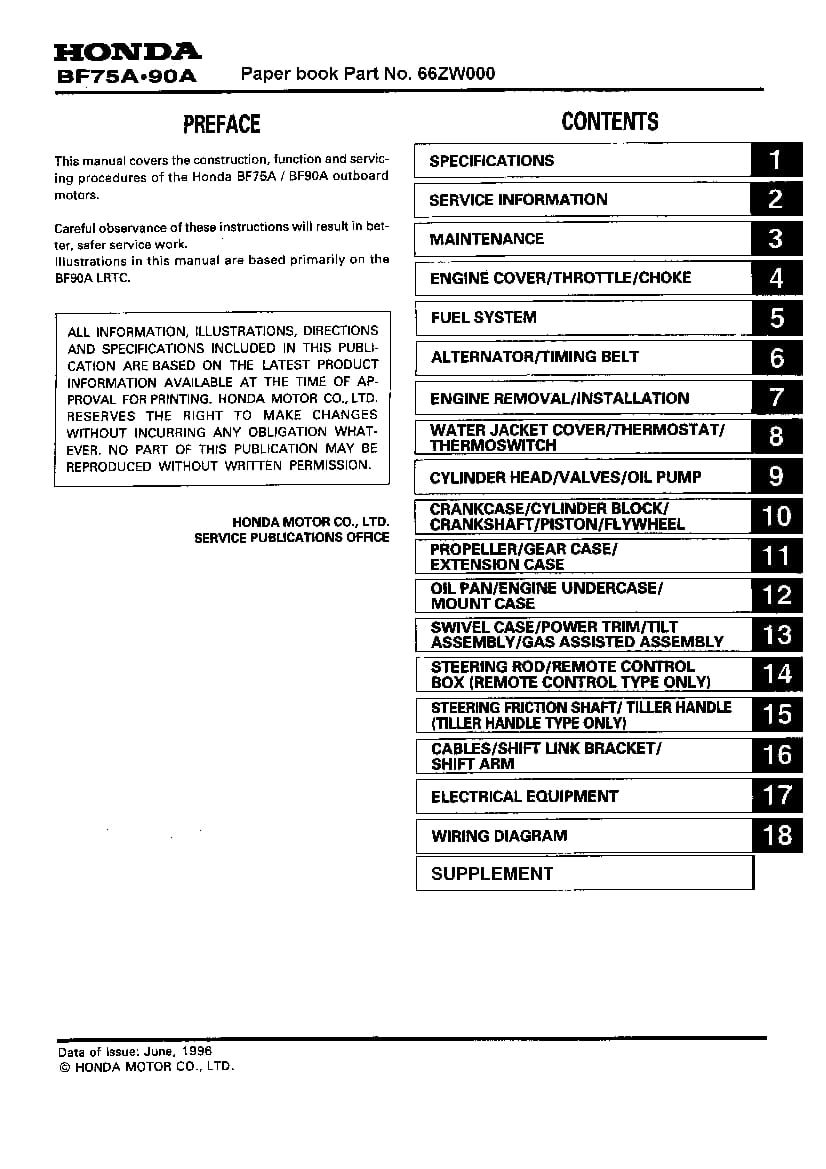 Honda Bf75a Bf90a Outboard Motor Service Repair Manual Manual Guide